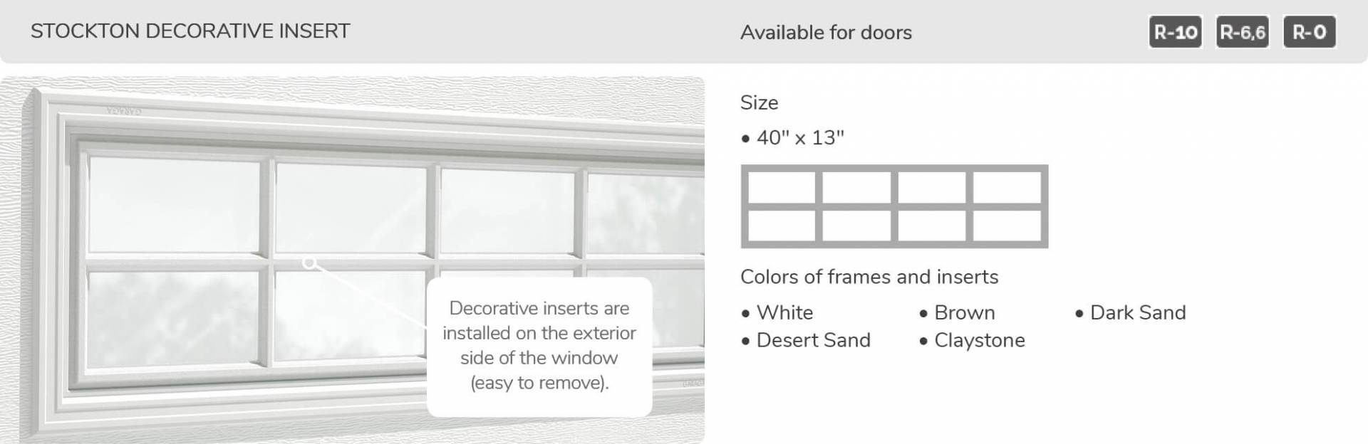"Stockton Decorative Insert, 40"" x 13"", available for doors R-10, R-6.6, R-0"
